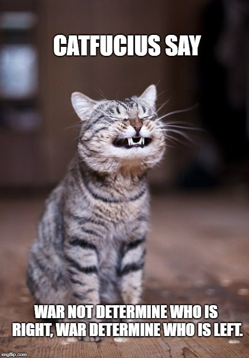 Catfucius say | CATFUCIUS SAY WAR NOT DETERMINE WHO IS RIGHT, WAR DETERMINE WHO IS LEFT. | image tagged in meme,confucius says,cat,funny cats,memes,funny cat memes | made w/ Imgflip meme maker