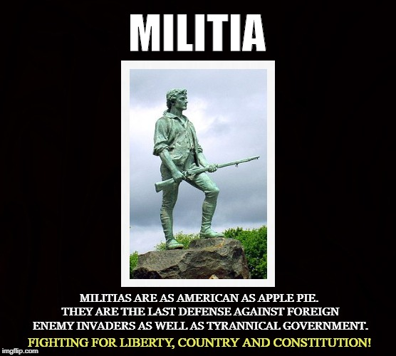 American Warriors | MILITIA MILITIAS ARE AS AMERICAN AS APPLE PIE. THEY ARE THE LAST DEFENSE AGAINST FOREIGN ENEMY INVADERS AS WELL AS TYRANNICAL GOVERNMENT. FI | image tagged in militia,liberty,2nd amendment,survivalist,minute men,patriot | made w/ Imgflip meme maker