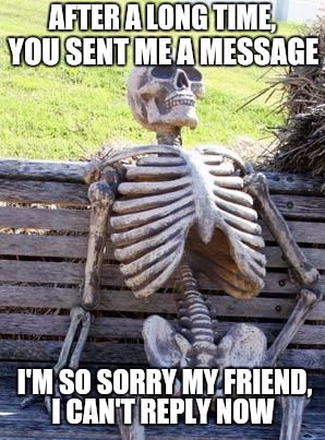 After a long time... | AFTER A LONG TIME, YOU SENT ME A MESSAGE I'M SO SORRY MY FRIEND, I CAN'T REPLY NOW | image tagged in memes,waiting skeleton,message,reply | made w/ Imgflip meme maker