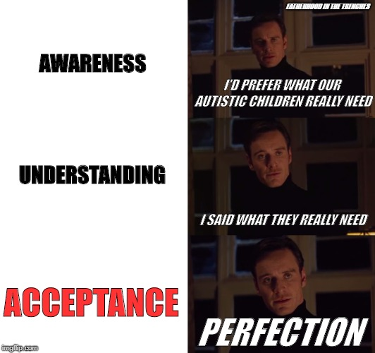 What They Really Need | AWARENESS UNDERSTANDING ACCEPTANCE I'D PREFER WHAT OUR AUTISTIC CHILDREN REALLY NEED PERFECTION I SAID WHAT THEY REALLY NEED FATHERHOOD IN T | image tagged in magneto,autism | made w/ Imgflip meme maker