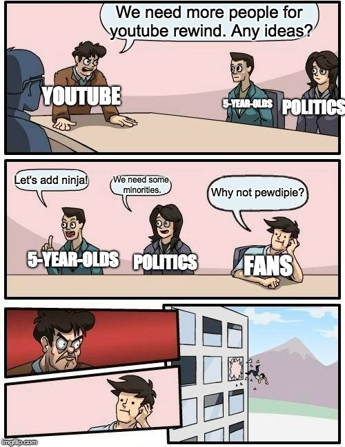 Youtube Rewind be like |  We need more people for youtube rewind. Any ideas? YOUTUBE; 5-YEAR-OLDS; POLITICS; Let's add ninja! We need some minorities. Why not pewdipie? 5-YEAR-OLDS; POLITICS; FANS | image tagged in memes,boardroom meeting suggestion,pewdiepie | made w/ Imgflip meme maker