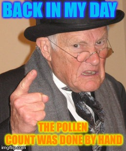Even the easy jobs where hard... |  BACK IN MY DAY; THE POLLEN COUNT WAS DONE BY HAND | image tagged in memes,back in my day,summer time,pollen,impossible | made w/ Imgflip meme maker