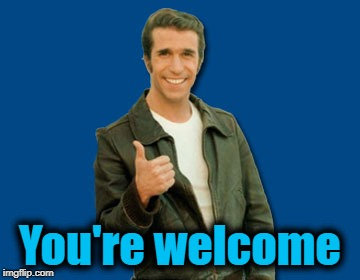 the Fonz | You're welcome | image tagged in the fonz | made w/ Imgflip meme maker