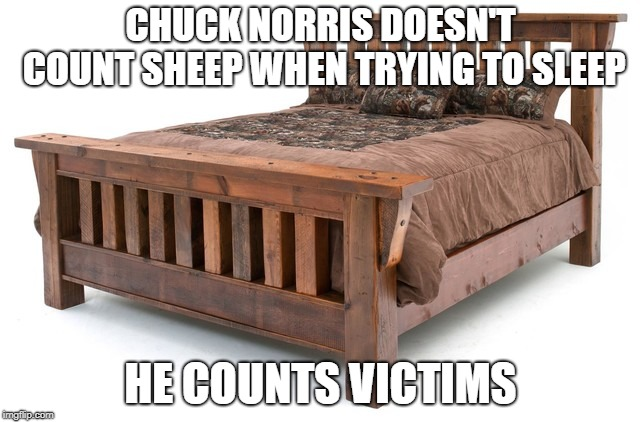 Chuck Norris trying to sleep | CHUCK NORRIS DOESN'T COUNT SHEEP WHEN TRYING TO SLEEP HE COUNTS VICTIMS | image tagged in chuck norris,memes,sleep | made w/ Imgflip meme maker