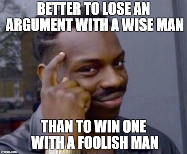 wise man | BETTER TO LOSE AN ARGUMENT WITH A WISE MAN THAN TO WIN ONE WITH A FOOLISH MAN | image tagged in wise man | made w/ Imgflip meme maker