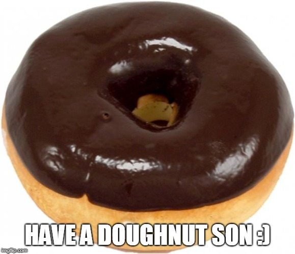 chocolate doughnut | HAVE A DOUGHNUT SON :) | image tagged in chocolate doughnut | made w/ Imgflip meme maker