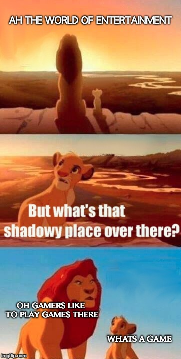 Simba Shadowy Place | AH THE WORLD OF ENTERTAINMENT OH GAMERS LIKE TO PLAY GAMES THERE WHATS A GAME | image tagged in memes,simba shadowy place | made w/ Imgflip meme maker