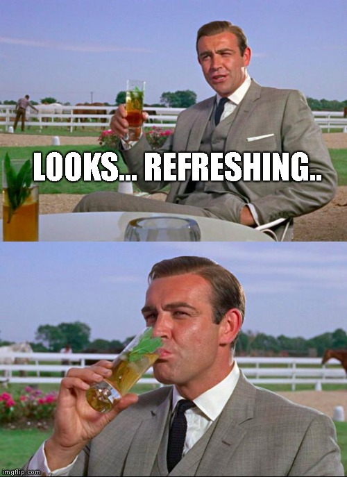 Sean Connery > Kermit | LOOKS... REFRESHING.. | image tagged in sean connery  kermit | made w/ Imgflip meme maker