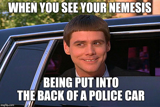 Lloyd Christmas Limo | WHEN YOU SEE YOUR NEMESIS BEING PUT INTO THE BACK OF A POLICE CAR | image tagged in lloyd christmas limo | made w/ Imgflip meme maker