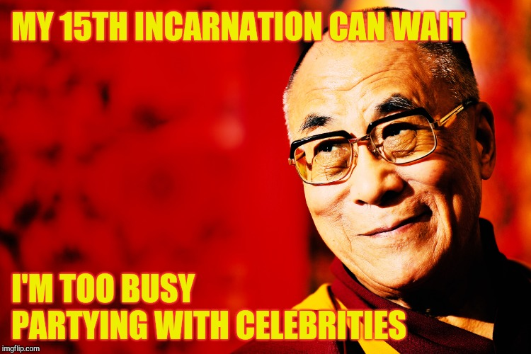 MY 15TH INCARNATION CAN WAIT I'M TOO BUSY PARTYING WITH CELEBRITIES | made w/ Imgflip meme maker