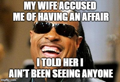 Stevie Wondering... | MY WIFE ACCUSED ME OF HAVING AN AFFAIR I TOLD HER I AIN'T BEEN SEEING ANYONE | image tagged in stevie wonder,affairs | made w/ Imgflip meme maker