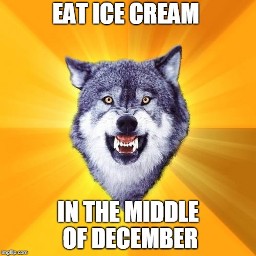 Courage Wolf | EAT ICE CREAM IN THE MIDDLE OF DECEMBER | image tagged in memes,courage wolf | made w/ Imgflip meme maker