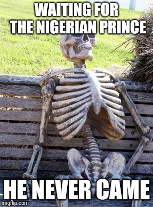 Waiting Skeleton | WAITING FOR THE NIGERIAN PRINCE HE NEVER CAME | image tagged in memes,waiting skeleton | made w/ Imgflip meme maker