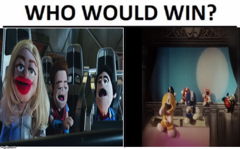 Smashing Felt! | image tagged in who would win,super sentai,legends of tomorrow,puppets,chikyuu sentai fiveman,arrowverse | made w/ Imgflip meme maker