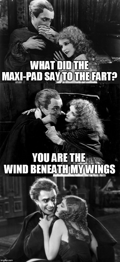Uncomfortable Jokes | WHAT DID THE MAXI-PAD SAY TO THE FART? YOU ARE THE WIND BENEATH MY WINGS | image tagged in uncomfortable jokes,memes,jokes,awkward,bad jokes,the man who laughs by victor hugo | made w/ Imgflip meme maker