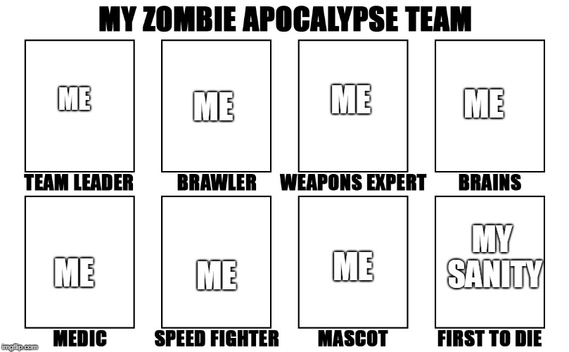 My Zombie Apocalypse Team v2, memes |  ME; ME; ME; ME; MY SANITY; ME; ME; ME | image tagged in my zombie apocalypse team v2 memes | made w/ Imgflip meme maker