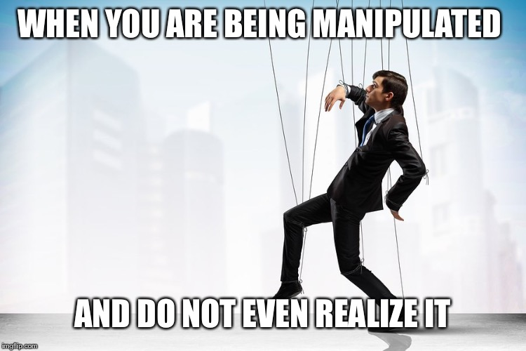 manipulation |  WHEN YOU ARE BEING MANIPULATED; AND DO NOT EVEN REALIZE IT | image tagged in manipulation | made w/ Imgflip meme maker
