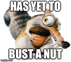 scrat weekend ice age |  HAS YET TO; BUST A NUT | image tagged in scrat weekend ice age | made w/ Imgflip meme maker