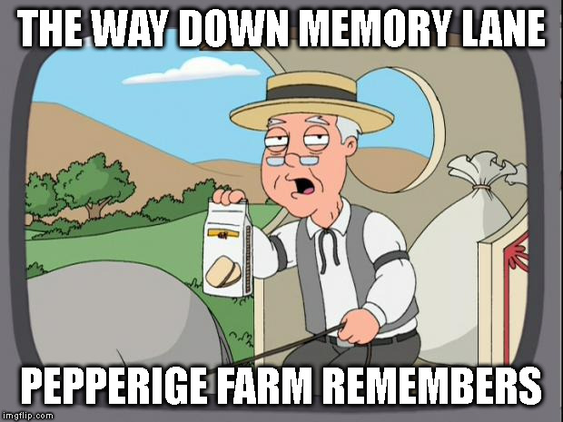 pepperige farms remembers | THE WAY DOWN MEMORY LANE PEPPERIGE FARM REMEMBERS | image tagged in pepperige farms remembers,memory lane | made w/ Imgflip meme maker
