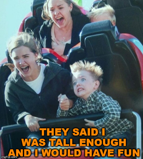 Have fun at the park | THEY SAID I WAS TALL ENOUGH AND I WOULD HAVE FUN | image tagged in memes,amusement park,roller coaster,funny | made w/ Imgflip meme maker