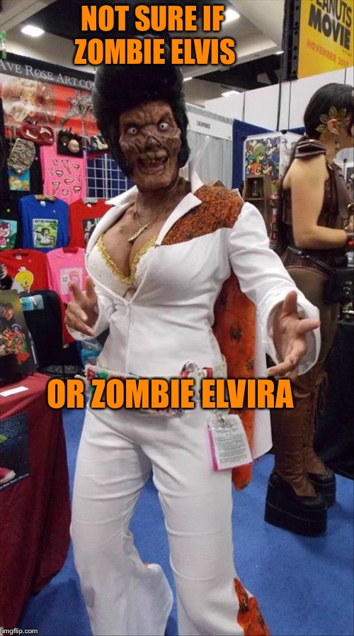 Thank you!  Thank you very much! | NOT SURE IF ZOMBIE ELVIS OR ZOMBIE ELVIRA | image tagged in elvis,elvira,zombies,memes,funny | made w/ Imgflip meme maker
