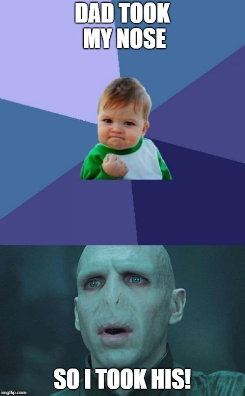Finally the mystery is solved... |  DAD TOOK MY NOSE; SO I TOOK HIS! | image tagged in memes,success kid,voldemort,harry potter | made w/ Imgflip meme maker