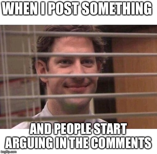 Stirring the pot | WHEN I POST SOMETHING AND PEOPLE START ARGUING IN THE COMMENTS | image tagged in jim office blinds | made w/ Imgflip meme maker
