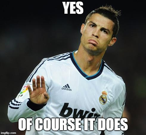 Ronaldo Calm Down | YES OF COURSE IT DOES | image tagged in ronaldo calm down | made w/ Imgflip meme maker