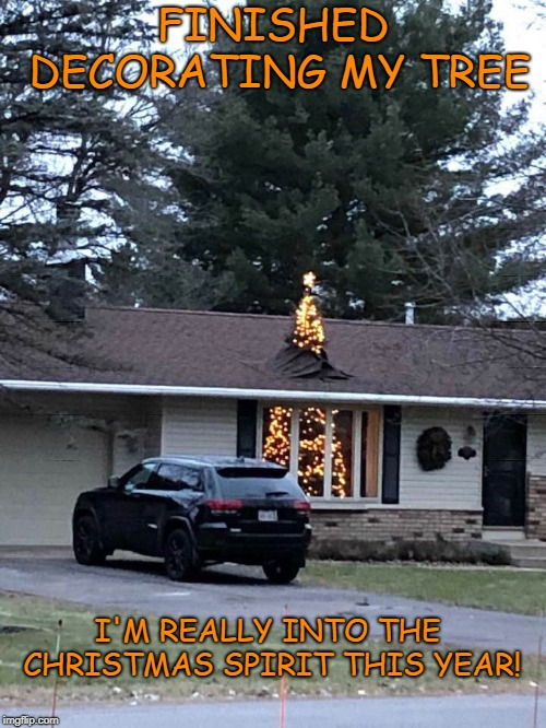 Christmas spirit | FINISHED DECORATING MY TREE I'M REALLY INTO THE CHRISTMAS SPIRIT THIS YEAR! | image tagged in memes,meme,christmas tree,christmas memes,christmas decorations | made w/ Imgflip meme maker