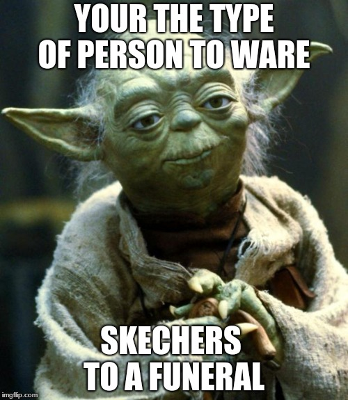 Star Wars Yoda | YOUR THE TYPE OF PERSON TO WARE SKECHERS  TO A FUNERAL | image tagged in memes,star wars yoda | made w/ Imgflip meme maker
