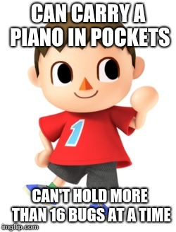 CAN CARRY A PIANO IN POCKETS CAN'T HOLD MORE THAN 16 BUGS AT A TIME | image tagged in animal crossing logic | made w/ Imgflip meme maker