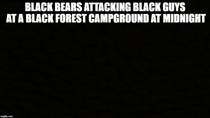 You will never guess where I got this joke | BLACK BEARS ATTACKING BLACK GUYS AT A BLACK FOREST CAMPGROUND AT MIDNIGHT | image tagged in black,memes,funny,bear,midnight,black guy | made w/ Imgflip meme maker