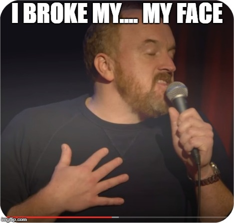 I BROKE MY.... MY FACE | image tagged in louie ck my life | made w/ Imgflip meme maker