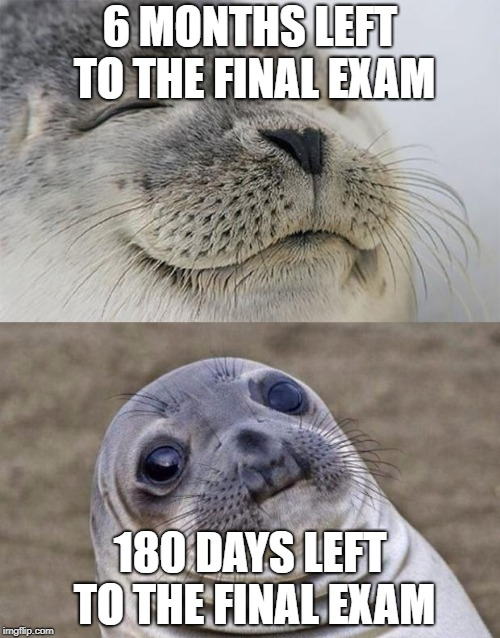 I KNOW IT'S NOT ONLY ME....WITH THIS THINKING | 6 MONTHS LEFT TO THE FINAL EXAM 180 DAYS LEFT TO THE FINAL EXAM | image tagged in memes,short satisfaction vs truth | made w/ Imgflip meme maker