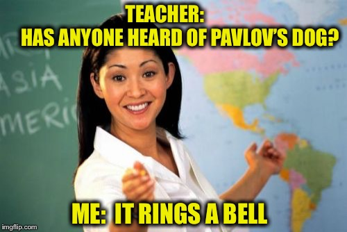 I salivated when I raised my hand  | TEACHER:                HAS ANYONE HEARD OF PAVLOV'S DOG? ME:  IT RINGS A BELL | image tagged in memes,unhelpful high school teacher,pavlovs dog,psychology,bell,salivate | made w/ Imgflip meme maker