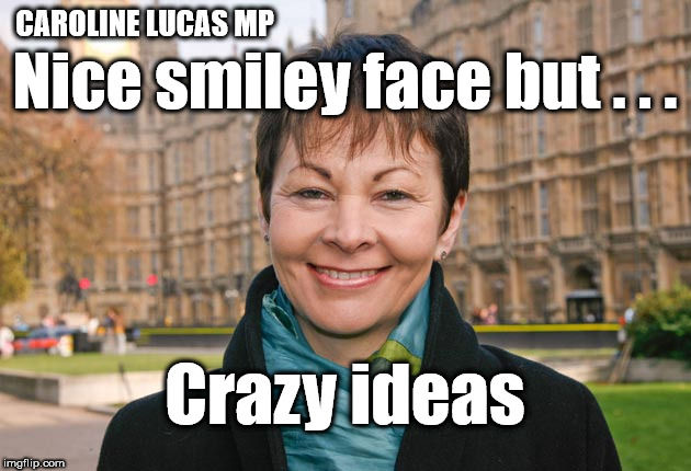 Caroline Lucas - Crazy? | CAROLINE LUCAS MP Crazy ideas Nice smiley face but . . . | image tagged in green party,brexit,remoaner,remainer,funny,2nd referendum | made w/ Imgflip meme maker