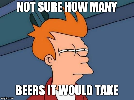 Futurama Fry Meme | NOT SURE HOW MANY BEERS IT WOULD TAKE | image tagged in memes,futurama fry | made w/ Imgflip meme maker