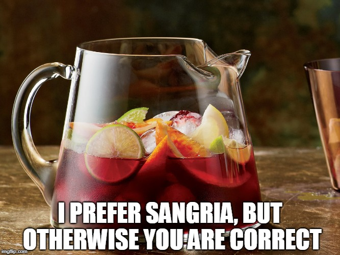 I PREFER SANGRIA, BUT OTHERWISE YOU ARE CORRECT | made w/ Imgflip meme maker