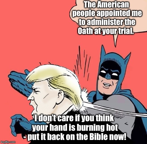 Donald trump gets slapped | The American people appointed me to administer the Oath at your trial. I don't care if you think your hand is burning hot - put it back on t | image tagged in donald trump gets slapped | made w/ Imgflip meme maker