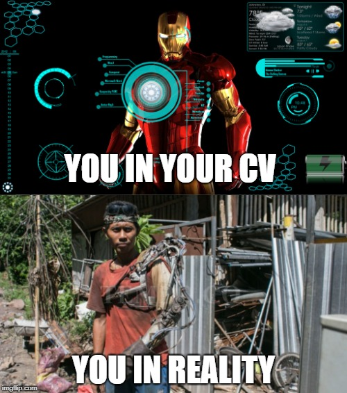 Iron Man | YOU IN YOUR CV YOU IN REALITY | image tagged in iron man,programmers | made w/ Imgflip meme maker