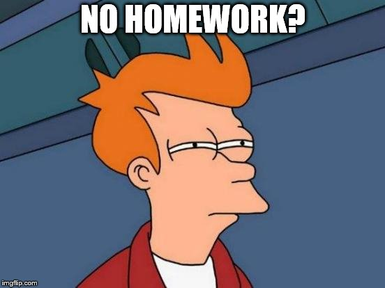 Futurama Fry Meme | NO HOMEWORK? | image tagged in memes,futurama fry | made w/ Imgflip meme maker