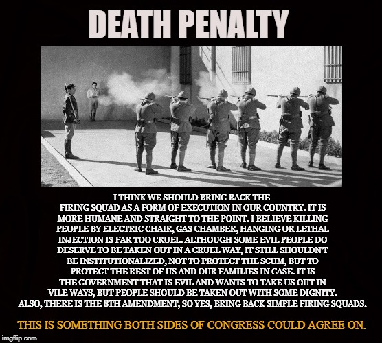 Compassionate State | DEATH PENALTY I THINK WE SHOULD BRING BACK THE FIRING SQUAD AS A FORM OF EXECUTION IN OUR COUNTRY. IT IS MORE HUMANE AND STRAIGHT TO THE POI | image tagged in death penalty,execution,8th amendment,compassion,criminals,firing squad | made w/ Imgflip meme maker