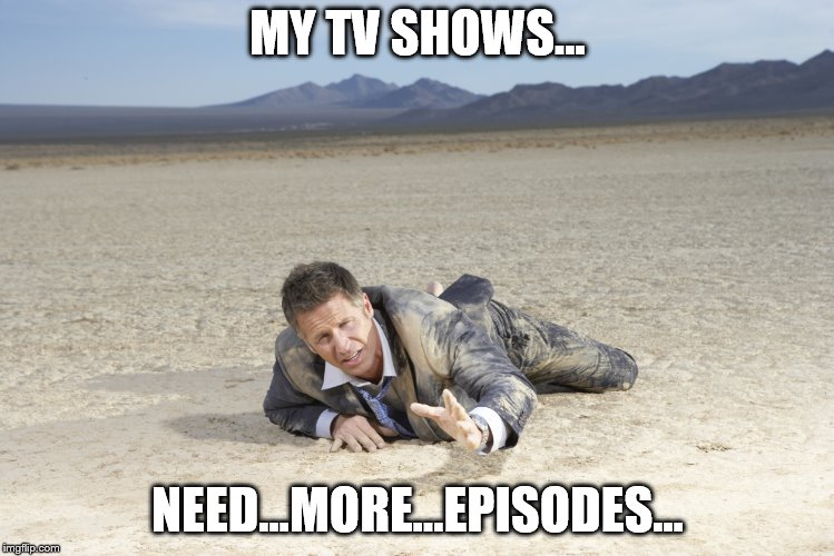Xmas seems to be a time of taking a break for a lot of the shows I like to watch. :-/ | MY TV SHOWS... NEED...MORE...EPISODES... | image tagged in crawling man in desert | made w/ Imgflip meme maker