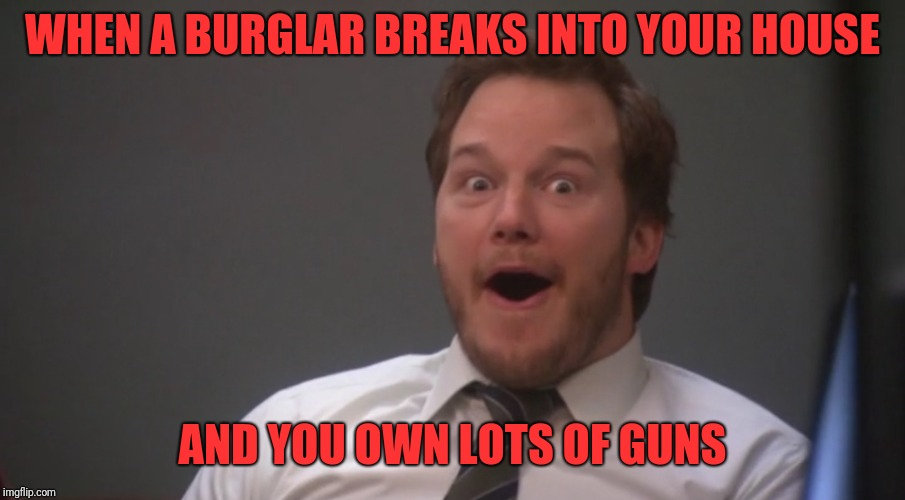 WHEN A BURGLAR BREAKS INTO YOUR HOUSE AND YOU OWN LOTS OF GUNS | image tagged in andy dwyer | made w/ Imgflip meme maker