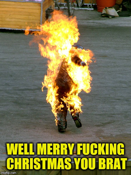 Burnt | WELL MERRY F**KING CHRISTMAS YOU BRAT | image tagged in burnt | made w/ Imgflip meme maker