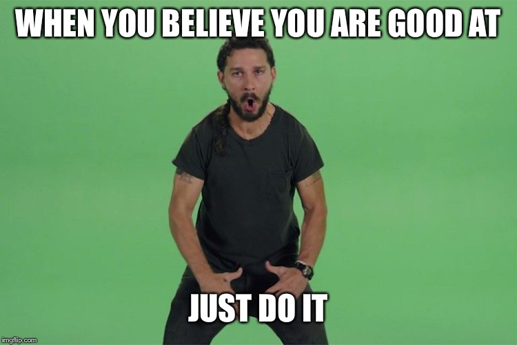 Shia labeouf JUST DO IT | WHEN YOU BELIEVE YOU ARE GOOD AT JUST DO IT | image tagged in shia labeouf just do it | made w/ Imgflip meme maker