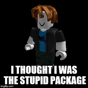 ROBLOX Meme | I THOUGHT I WAS THE STUPID PACKAGE | image tagged in roblox meme | made w/ Imgflip meme maker