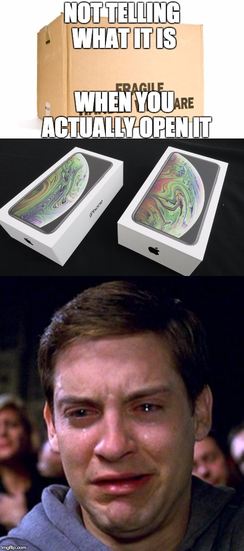 iPhone XS Max is fragile | NOT TELLING WHAT IT IS WHEN YOU ACTUALLY OPEN IT | image tagged in crying peter parker,fragile box | made w/ Imgflip meme maker