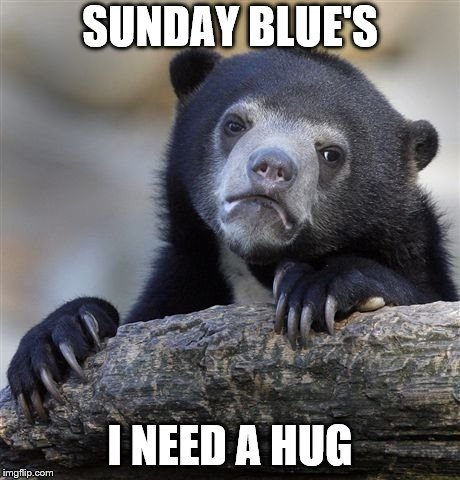 sunday blue's | SUNDAY BLUE'S I NEED A HUG | image tagged in memes,confession bear,hug,sunday,meme | made w/ Imgflip meme maker