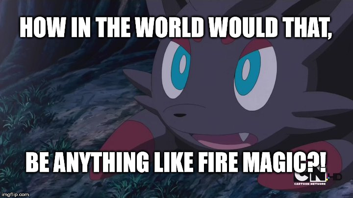 Zorua Wtf | HOW IN THE WORLD WOULD THAT, BE ANYTHING LIKE FIRE MAGIC?! | image tagged in zorua wtf | made w/ Imgflip meme maker
